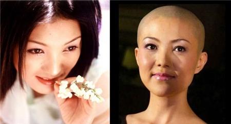 Người đẹp Tạ Vũ Hân dịu dàng với mái tóc đen dài và cả khi đã cạo trọc.