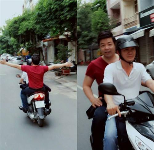 """Quang Lê lại """"quên"""" mũ bảo hiểm khi đi xe máy - 1"""