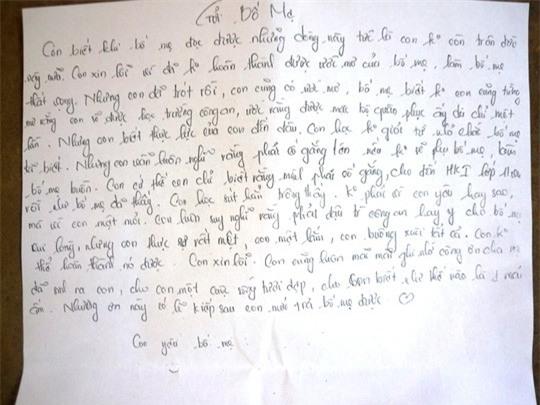 Một trong 5 bức thư Trang để lại.