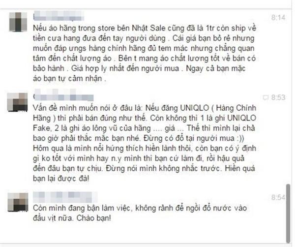 Một chủ shop ở Hà Nội bị tố bán hàng nhái quần áo Uniqlo với giá đắt đỏ - Ảnh 9.