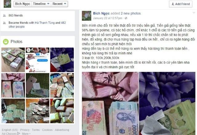 tiền giả, tiền giả trên facebook, rao bán tiền giả, cách nhận biết tiền giả