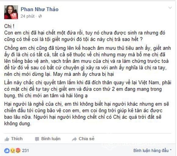 Phan Như Thảo tiếp tục công khai việc con và chồng bị hại 0