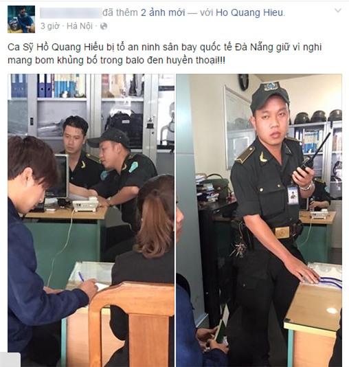 Hồ Quang Hiếu bị tố mang bom tại sân bay