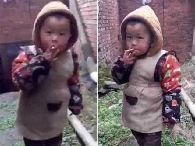Hình ảnh cậu bé hút thuốc khiến dân mạng phẫn nộ