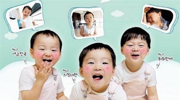 Ba nhóc tì tài tử Joo Mong - Song Il Kook trong show Sự trở lại của siêu nhân. Ảnh: Nate.