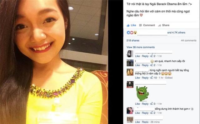 Tiết lộ danh tính của cô gái Việt xinh đẹp tặng hoa ông Obama - Ảnh 1.