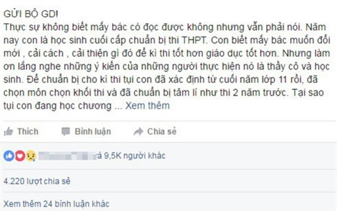 tam thu nu sinh gui bo giao duc: lam on dung thay doi thi cu hinh anh 1