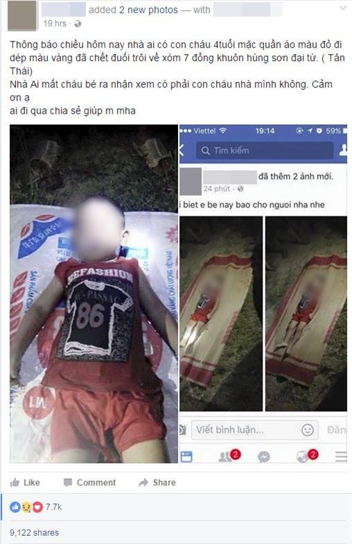 Xót xa bé trai 3 tuổi chết đuối thương tâm ở Thái Nguyên - Ảnh 1.