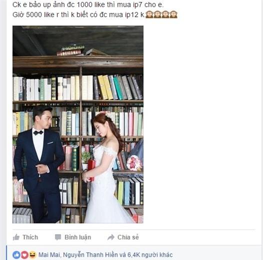 Lên mạng nhờ like ảnh cưới để được chồng đổi iphone 7 và kết quả ngỡ ngàng