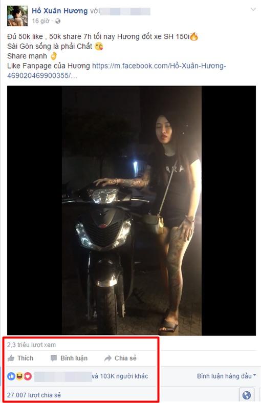 Hành động phản cảm: Hot girl Hồ Xuân Hương hứa đốt xe SH nếu có đủ... like - Ảnh 2.