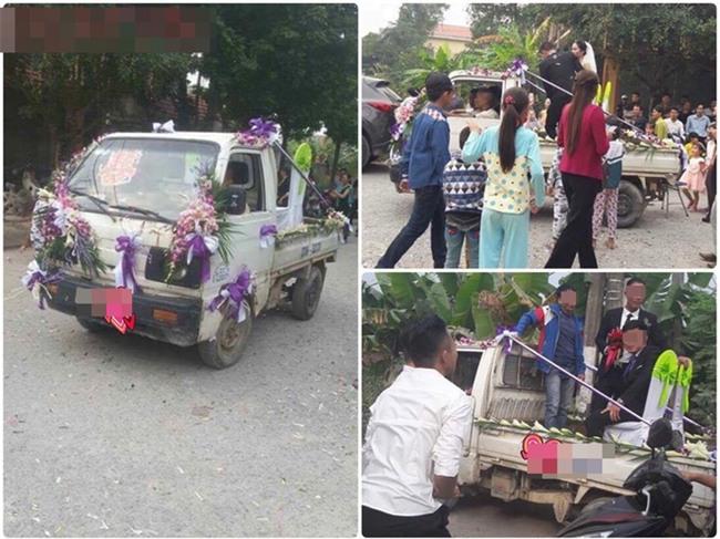 Xe rước dâu của cặp đôi khiến cả làng quê xôn xao - Ảnh 1.