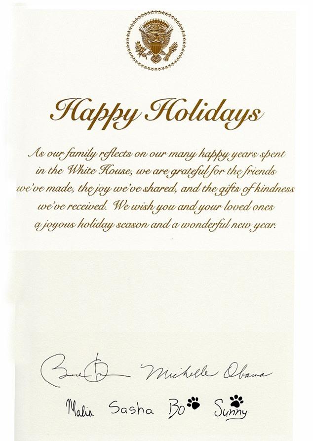 Tấm thiệp Giáng sinh Nhà Trắng cuối cùng với sự hiện diện đầy đủ của gia đình Tổng thống Obama - Ảnh 2.