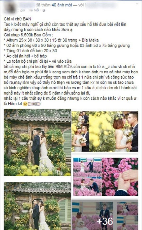 Cuối năm lại sốt chuyện chú rể quỵt tiền chụp ảnh cưới của chính bạn mình - Ảnh 1.