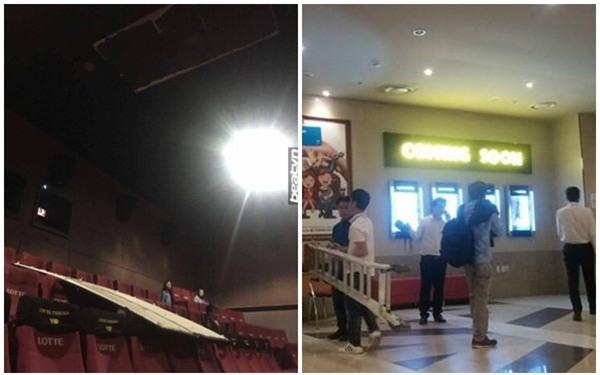 Hà Nội: Xem phim ở rạp Lotte Kangnam bị trần thạch cao rơi trúng, hai người đi cấp cứu - Ảnh 1.