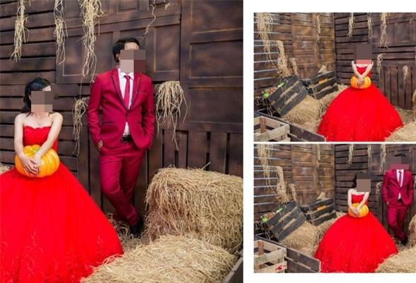 Ảnh cưới của anh T. và chị P. được chụp tại một Studo ảnh ở Phan Thiết