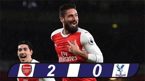 Thắng nhẹ Crystal Palace, Arsenal vào Top 3