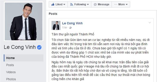 Công Vinh viết tâm thư gửi người hâm mộ bóng đá TPHCM - Ảnh 1.