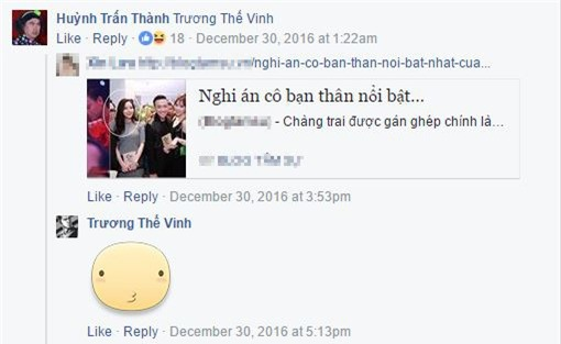 Trong một bức ảnh đăng tải đồn đoán về mối quan hệ của Anh Đức và Hy Shin, Trấn Thành liền bình luận và gắnthẳng tên Trương Thế Vinh để nam ca sĩ có thể nhìn thấy. - Tin sao Viet - Tin tuc sao Viet - Scandal sao Viet - Tin tuc cua Sao - Tin cua Sao