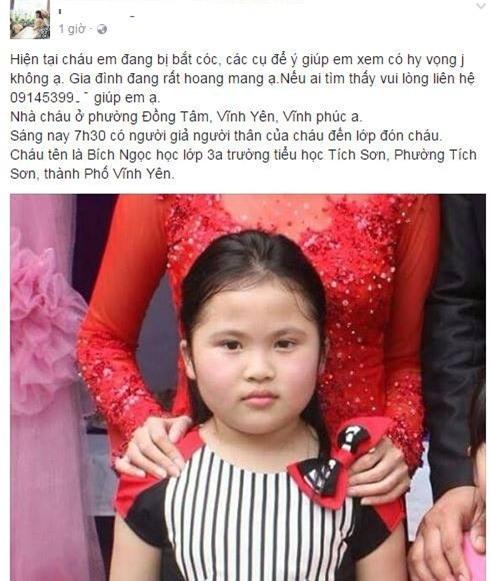 Vĩnh Phúc: Bé gái lớp 3 đi học bị người lạ đón đi, nghi bị bắt cóc - Ảnh 1.