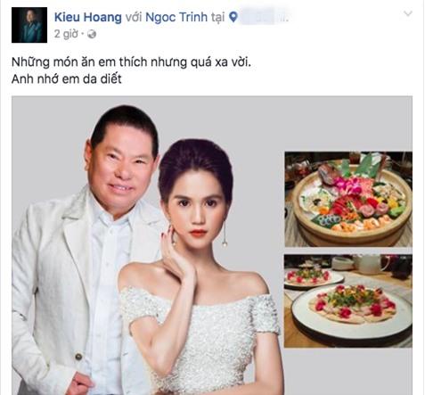 Với mỗi một status bày tỏ nỗi nhớ, Hoàng Kiều luôn tag tên facebook cá nhân của Ngọc Trinh.
