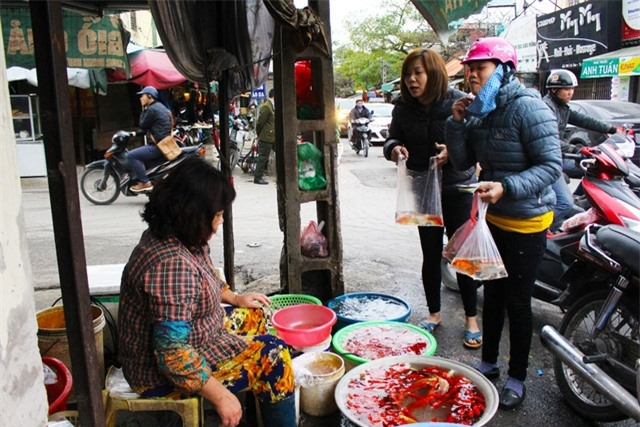 Giá cá chép tại cửa hàng của cô Đạt dao động từ 30.000 – 70.000 đồng/bộ gồm 3 con. (Ảnh: Hồng Vân)