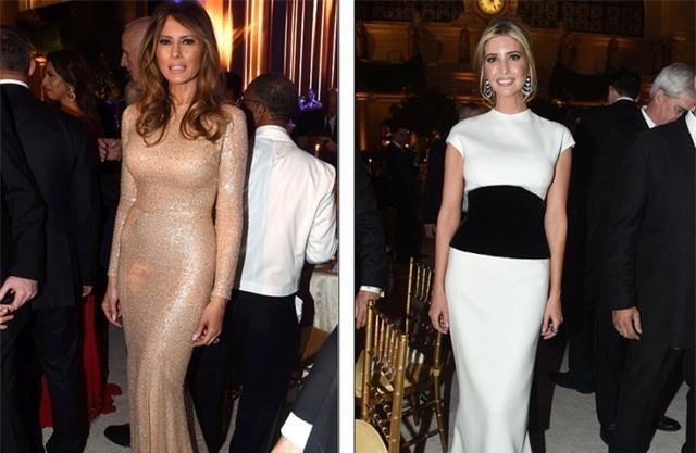 Ivanka, con gái lớn của Tổng thống đắc cử Trump cũng có mặt tại bữa tiệc với chiếc đầm hai tông màu đen, trắng. (Ảnh: Dailymail)
