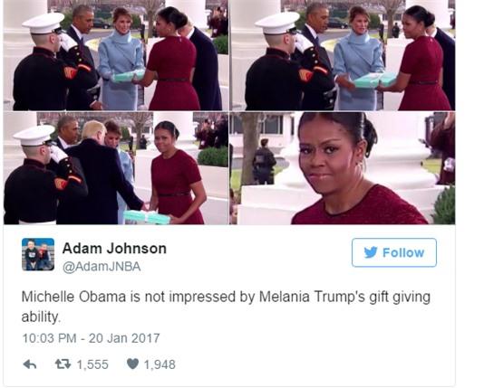 Những biểu cảm của cựu Đệ nhất phu nhân Michelle Obama khi nhận quà từ bà Melania Trump gây xôn xao mạng xã hội - Ảnh 4.