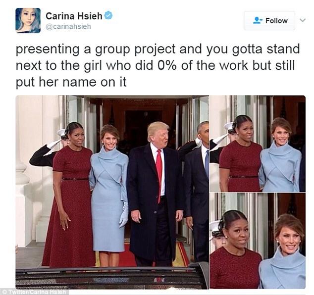 Những biểu cảm của cựu Đệ nhất phu nhân Michelle Obama khi nhận quà từ bà Melania Trump gây xôn xao mạng xã hội - Ảnh 5.