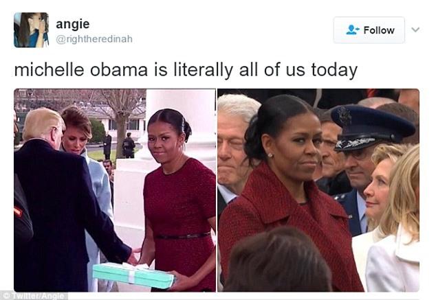 Những biểu cảm của cựu Đệ nhất phu nhân Michelle Obama khi nhận quà từ bà Melania Trump gây xôn xao mạng xã hội - Ảnh 6.