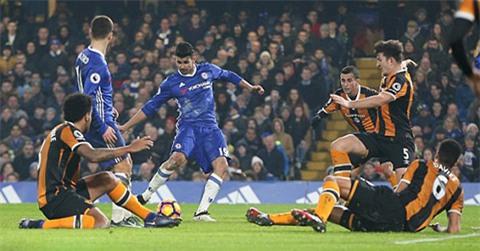 Costa ghi bàn trong trận đấu thứ 100 cho Chelsea