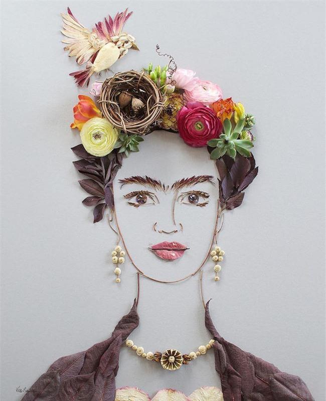 Ngắm bộ tranh chân dung gái đẹp được làm từ hoa cỏ mùa xuân - Ảnh 1.