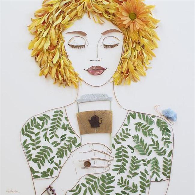 Ngắm bộ tranh chân dung gái đẹp được làm từ hoa cỏ mùa xuân - Ảnh 25.