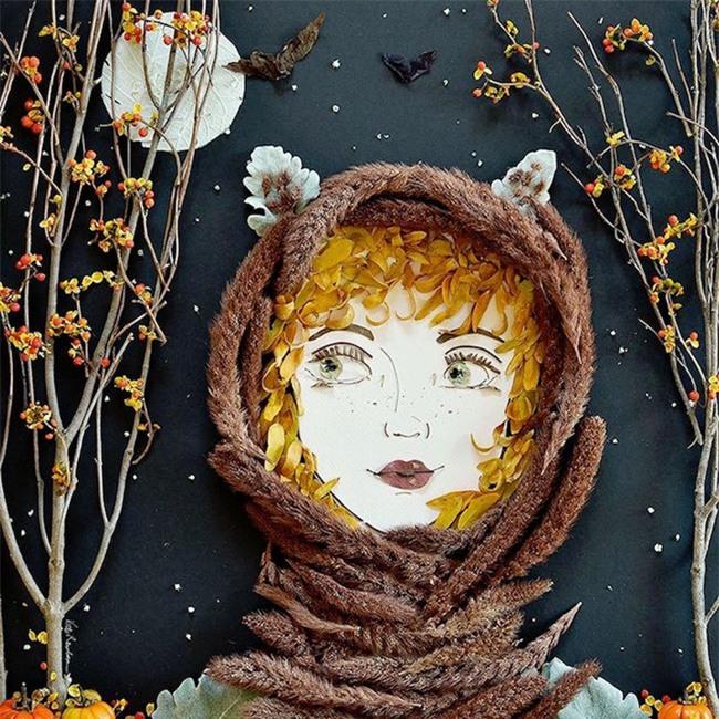 Ngắm bộ tranh chân dung gái đẹp được làm từ hoa cỏ mùa xuân - Ảnh 3.