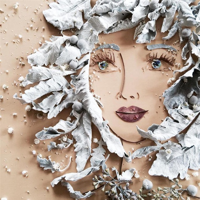 Ngắm bộ tranh chân dung gái đẹp được làm từ hoa cỏ mùa xuân - Ảnh 11.