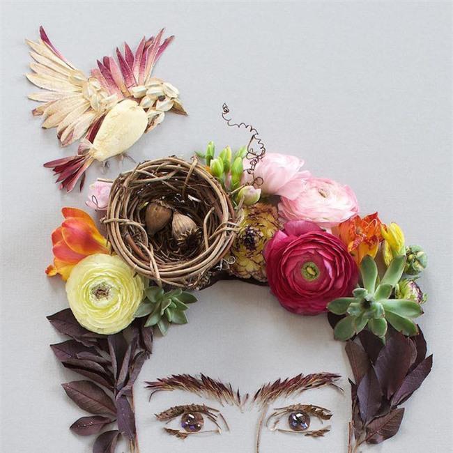 Ngắm bộ tranh chân dung gái đẹp được làm từ hoa cỏ mùa xuân - Ảnh 13.