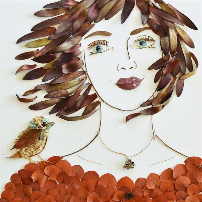 Ngắm bộ tranh chân dung gái đẹp được làm từ hoa cỏ mùa xuân - Ảnh 15.