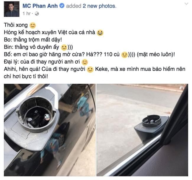 MC Phan Anh méo mặt vì bị kẻ trộm bẻ gương xe ngay đầu năm - Ảnh 1.