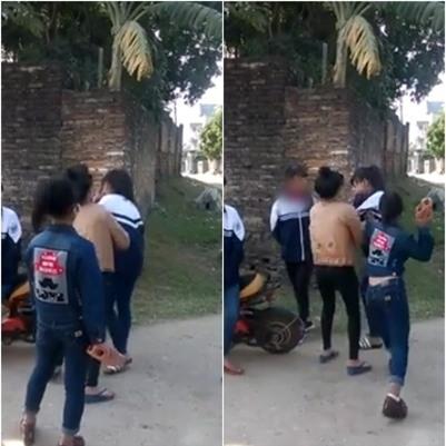 Xôn xao clip một nhóm nữ sinh cầm gạch đánh bạn ngất xỉu giữa đường - Ảnh 1.