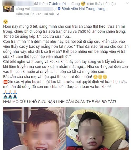 Mùng 3 Tết, bé trai nhập viện trong tình trạng mặt mũi sưng vù vì uống trà sữa? - Ảnh 1.