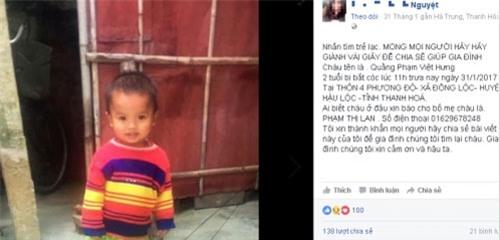 Bé trai 2 tuổi mất tích vào ngày Tết, bố mẹ khóc ròng tìm con - 1