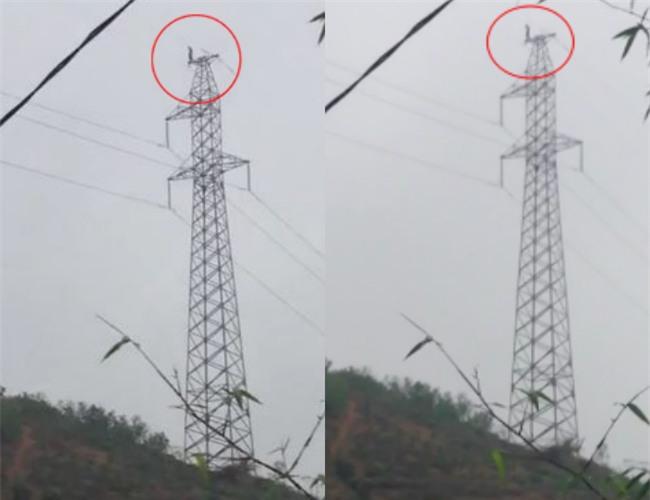 Clip: Người đàn ông vắt vẻo trên đỉnh cột điện cao thế suốt nhiều giờ liền ở Phú Thọ - Ảnh 2.