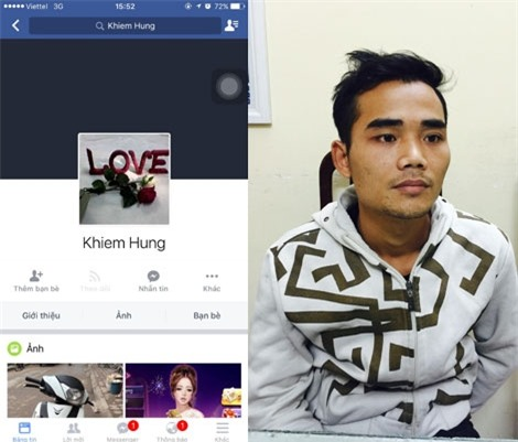 Trang Facebook có tên Khiem Hung được Trần Văn Sinh sử dụng để bẫy tình trên mạng (ảnh trái). Trần Văn Sinh tại cơ quan Công an.
