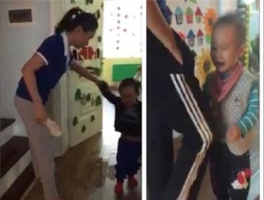 Hình ảnh hai cháu bé bị đánh ở cơ sở mầm non. (Ảnh cắt từ clip)