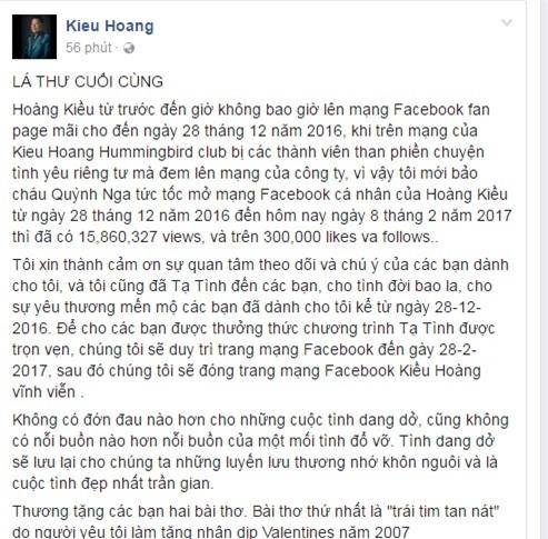 "so bi ""nem da"" hoang kieu dong facebook vinh vien, rut khoi showbiz? hinh anh 2"