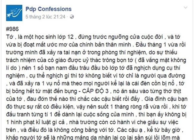 Vu nu sinh bi bong: 'Nha truong xu ly qua cham' hinh anh 1