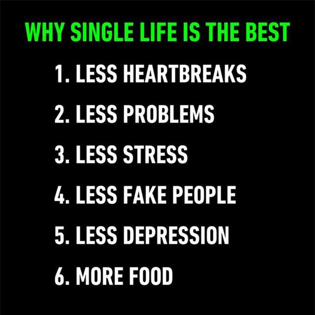 Và nếu bạn vẫn còn độc thân thì đây là lợi ích của độc thân nhé: ít đau lòng, ít vấn đề, ít căng thẳng, ít sống giả dối, ít phiền muộn, và nhiều thức ăn hơn (vì không phải chia sẻ cùng ai).