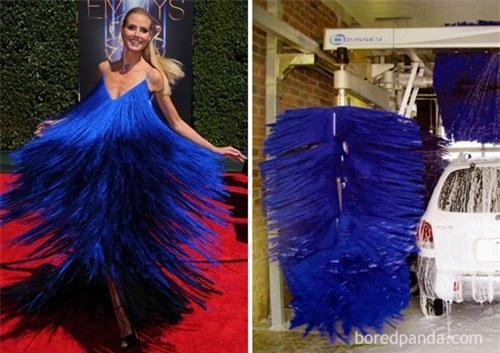 Chổi lông cọ rửa ô tô và chiếc váy xanh này trông không quá khác biệt.