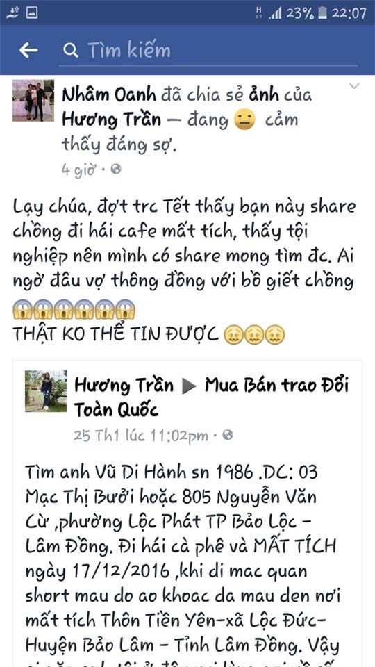 tham an rung dong lam dong: cung nguoi tinh chon giau xac chong roi dang tin tim kiem - 1