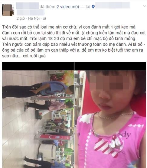Hà Nội: Bé gái bị mẹ mắng chửi, dùng túi đánh vào mặt ngay siêu thị vì làm mất một gói kẹo - Ảnh 1.