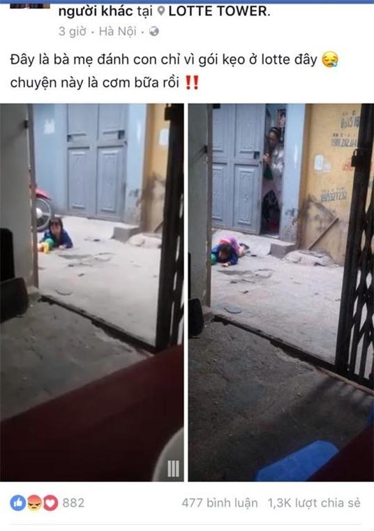 Phẫn nộ clip em bé bị mẹ đánh ở siêu thị tiếp tục bị bỏ mặc ngoài đường, nằm khóc nức nở - Ảnh 1.